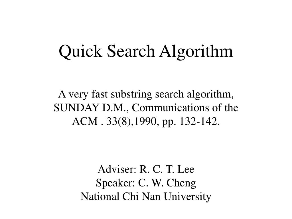 quick search algorithm l.