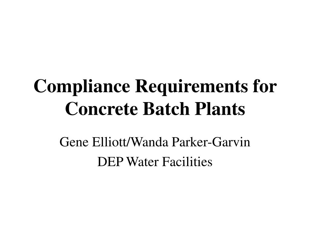 compliance requirements for concrete batch plants l.