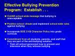 effective bullying prevention program establish