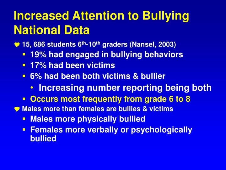 Increased Attention to Bullying