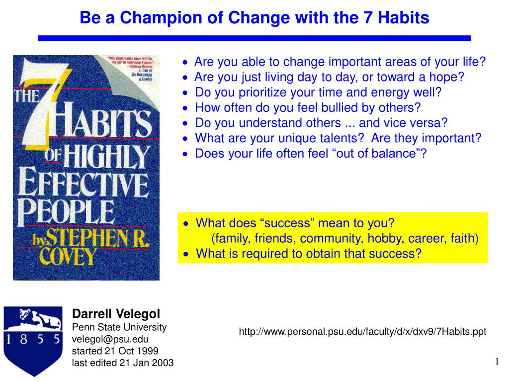 be a champion of change with the 7 habits l.