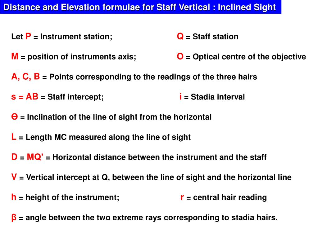 Distance and Elevation formulae for Staff Vertical : Inclined Sight