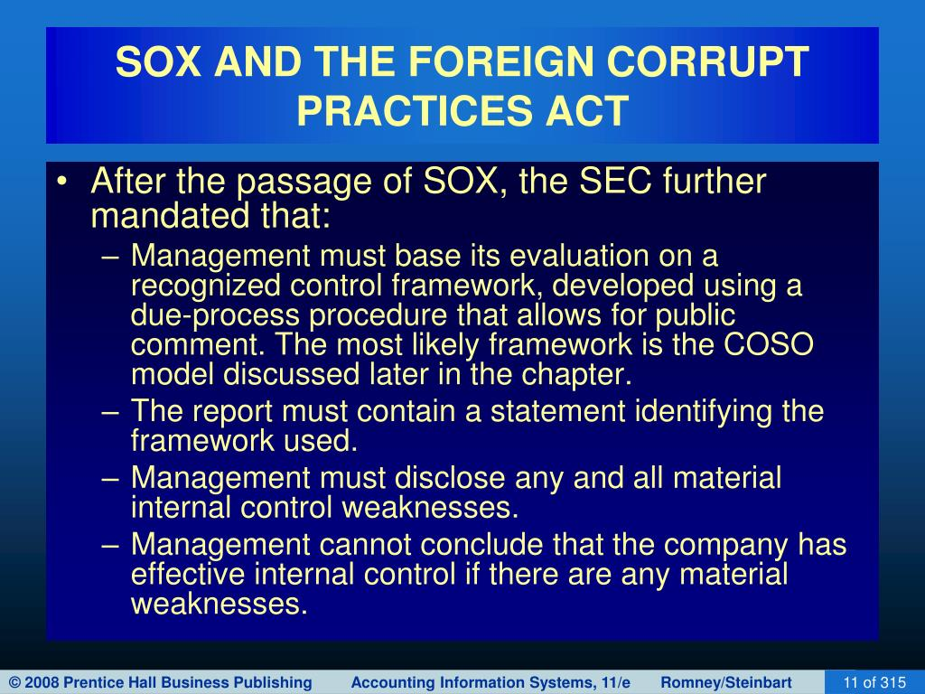 SOX AND THE FOREIGN CORRUPT PRACTICES ACT