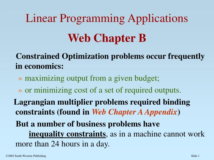 linear programming applications An introduction to linear programming we describe the ideas and applications of linear programming linear programming is a generalization of linear algebra.