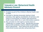 yolanda s law behavioral health advisory council