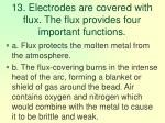 13 electrodes are covered with flux the flux provides four important functions