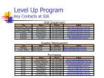 level up program key contacts at sia