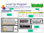 level up program required monthly report format