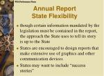 annual report state flexibility