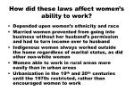 how did these laws affect women s ability to work
