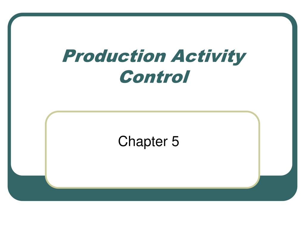 production activity control l.