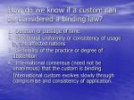 how do we know if a custom can be considered a binding law