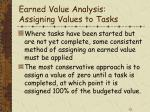 earned value analysis assigning values to tasks