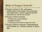 what is project control