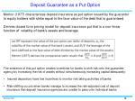 deposit guarantee as a put option