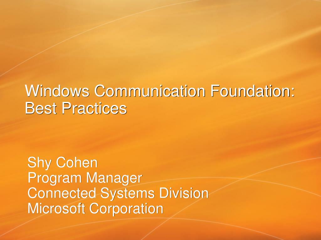 windows communication foundation best practices l.