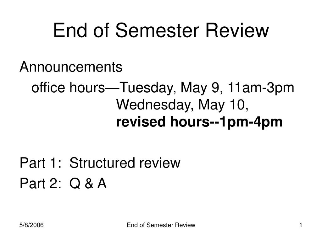 end of semester review l.