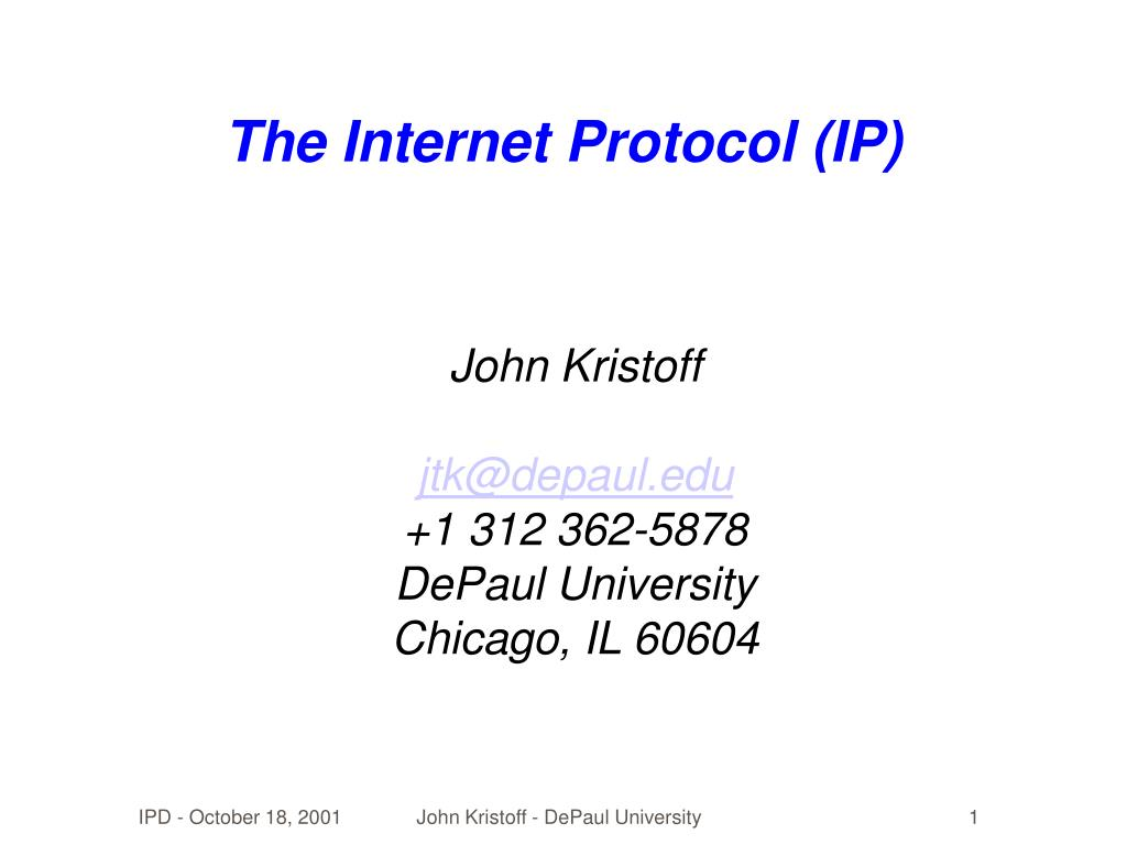 the internet protocol ip l.