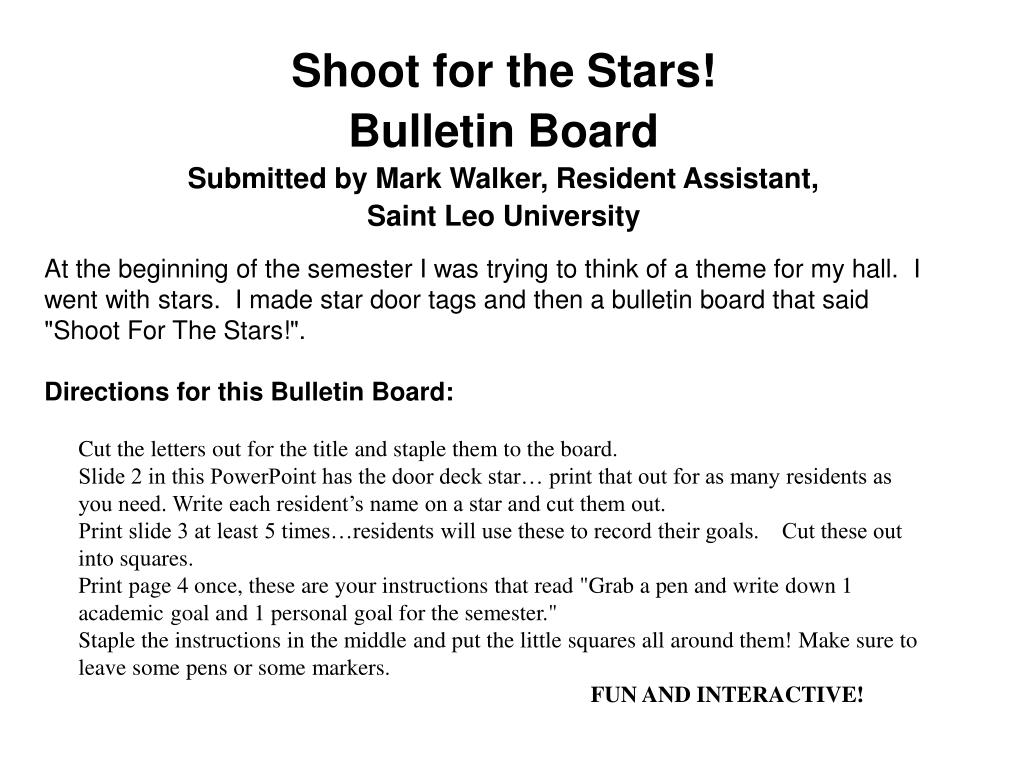 shoot for the stars bulletin board submitted by mark walker resident assistant saint leo university l.
