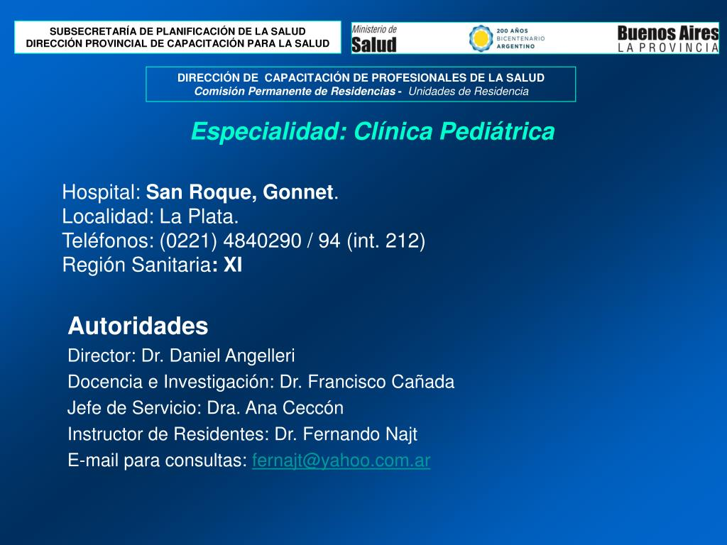 hospital san roque gonnet localidad la plata tel fonos 0221 4840290 94 int 212 regi n sanitaria xi