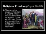 religious freedom pages 76 78