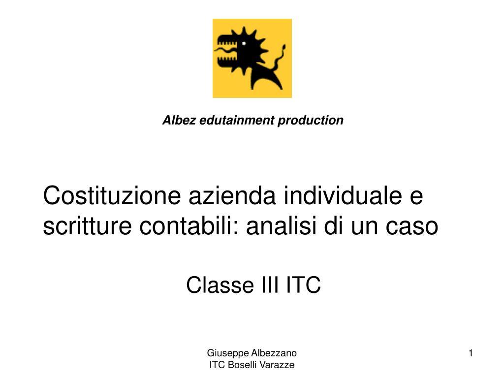 costituzione azienda individuale e scritture contabili analisi di un caso l.