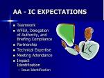 aa ic expectations