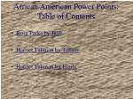 african american power points table of contents