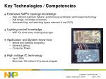 key technologies competencies