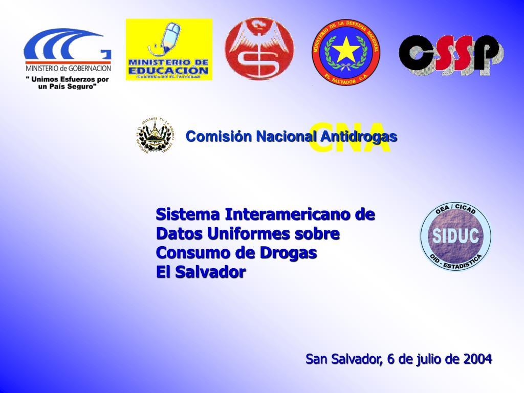 sistema interamericano de datos uniformes sobre consumo de drogas el salvador l.