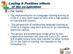 lasting positives effects of the co operation24