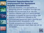 potential opportunities for improvement for equipment supplier consideration