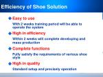 efficiency of shoe solution