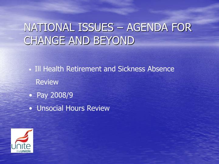 national issues agenda for change and beyond n.