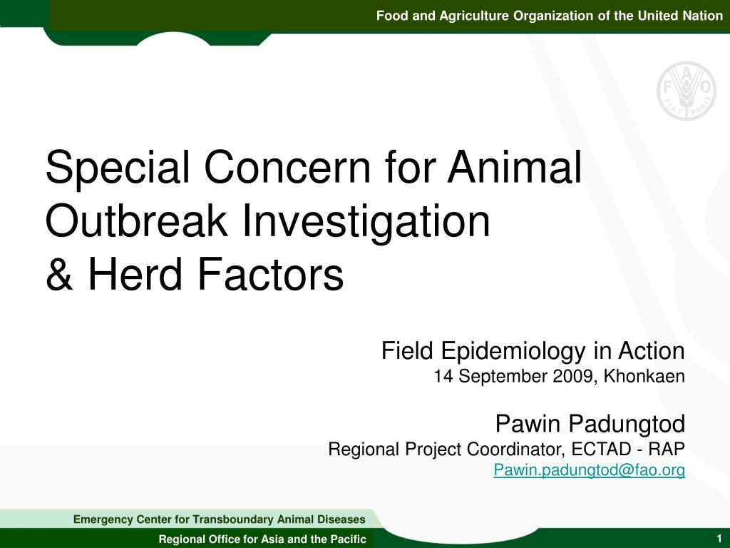 special concern for animal outbreak investigation herd factors l.