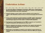 undertaken actions