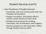 student services con t