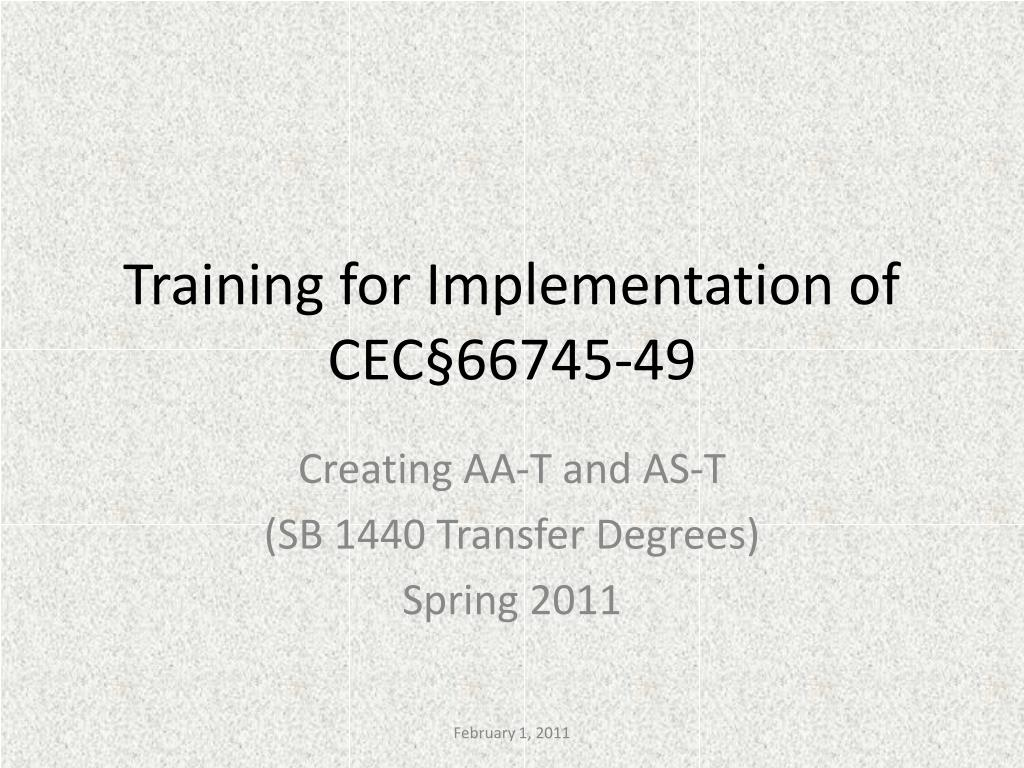 training for implementation of cec 66745 49 l.