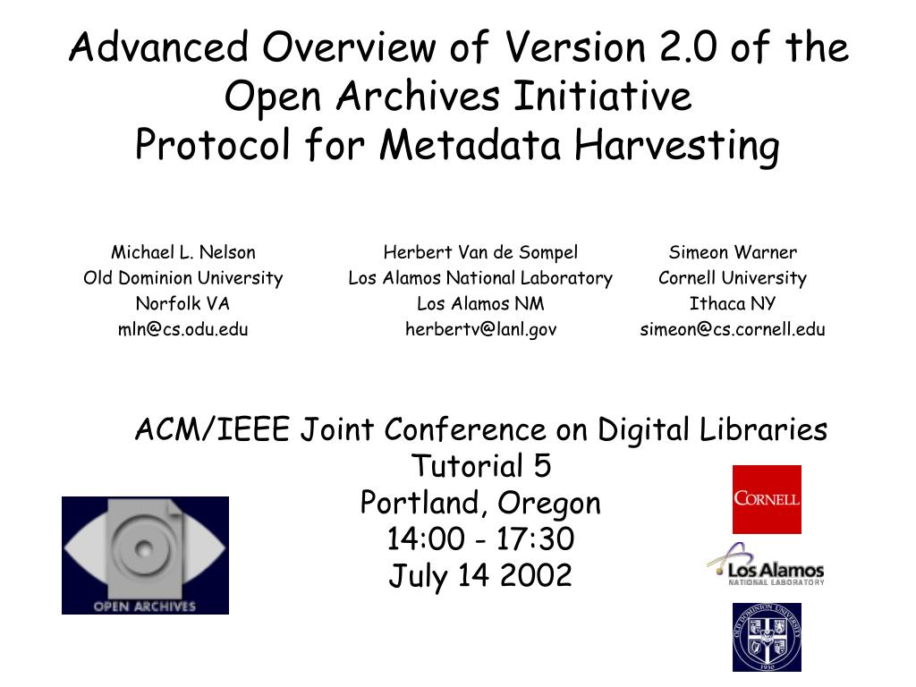 advanced overview of version 2 0 of the open archives initiative protocol for metadata harvesting l.