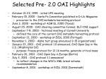 selected pre 2 0 oai highlights