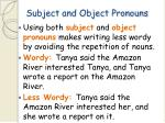 subject and object pronouns61