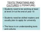 texts traditi0ns and cultures literature