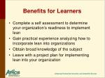 benefits for learners