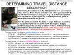 determining travel distance description