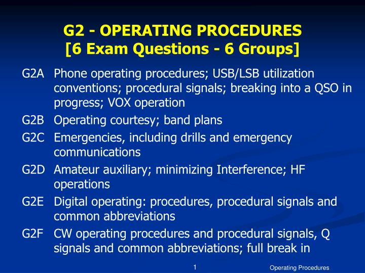 g2 operating procedures 6 exam questions 6 groups n.
