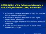 g2a08 which of the following statements is true of single sideband ssb voice mode