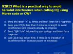 g2b13 what is a practical way to avoid harmful interference when calling cq using morse code or cw