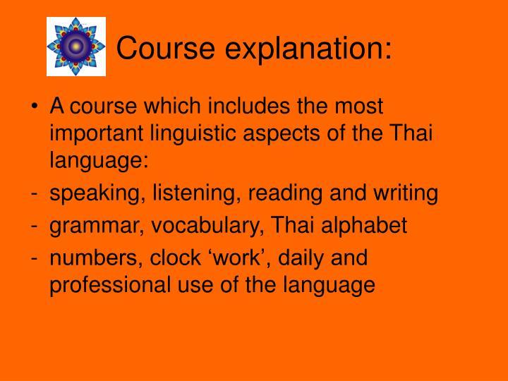 Course explanation