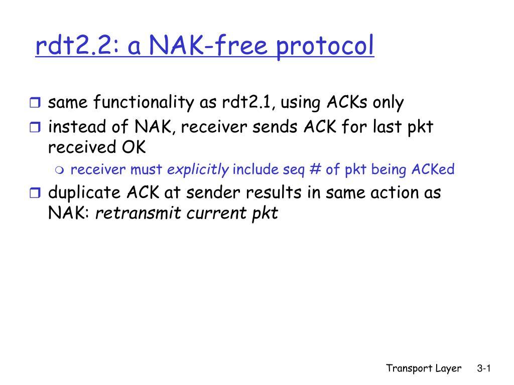 rdt2 2 a nak free protocol l.
