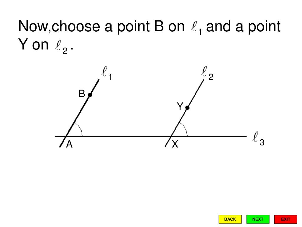 Now,choose a point B on     and a point Y on     .